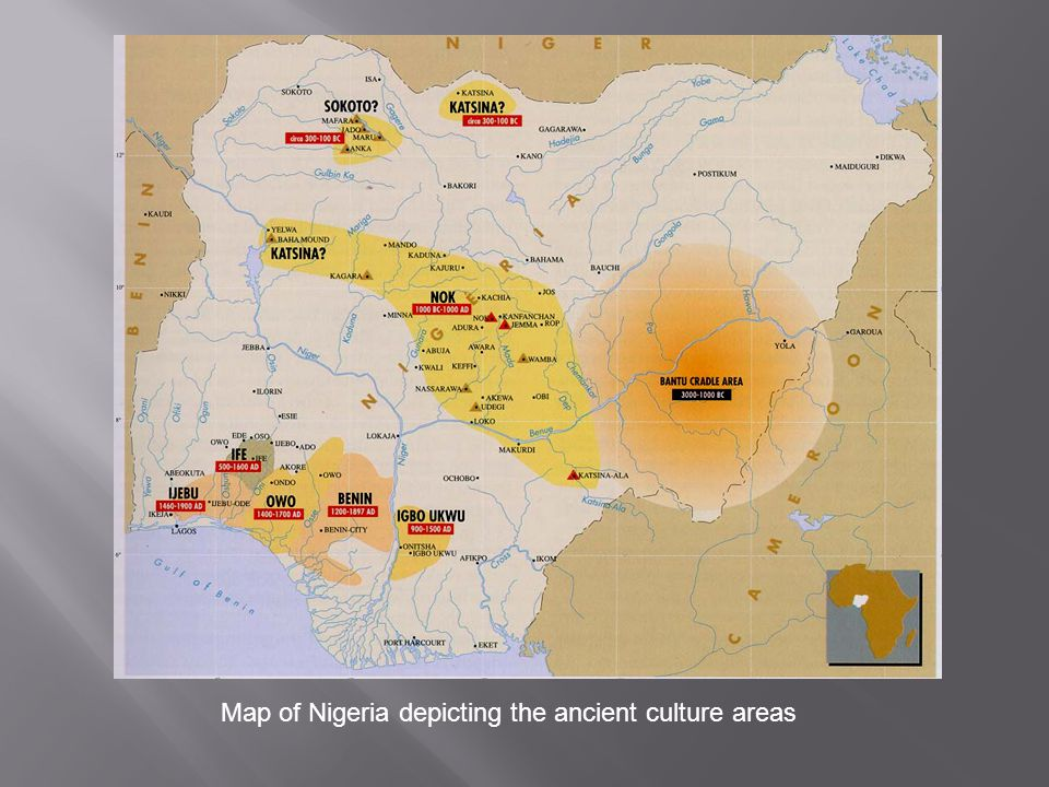 Map of Nigeria depicting the ancient culture areas