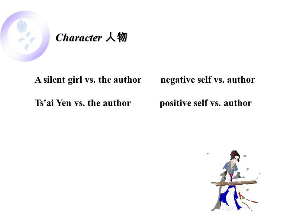 A silent girl vs. the author negative self vs. author Ts'ai Yen vs. the author positive self vs. author Character 人物
