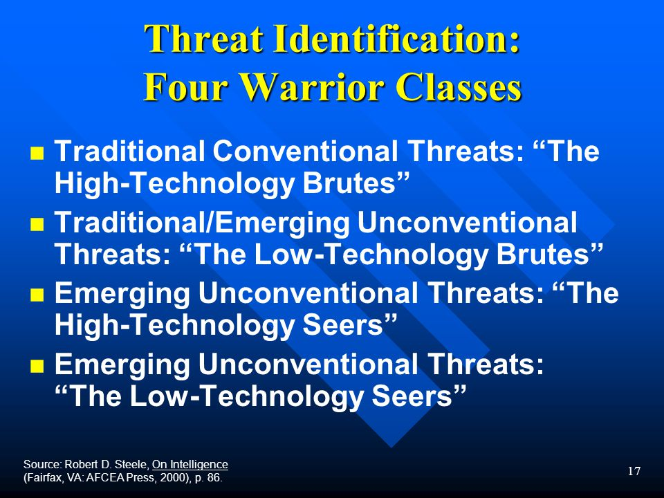 17 Threat Identification: Four Warrior Classes n n Traditional Conventional Threats: The High-Technology Brutes n n Traditional/Emerging Unconventional Threats: The Low-Technology Brutes n n Emerging Unconventional Threats: The High-Technology Seers n n Emerging Unconventional Threats: The Low-Technology Seers Source: Robert D.