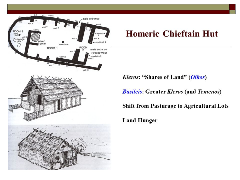 Homeric Chieftain Hut Kleros: Shares of Land (Oikos) Basileis: Greater Kleros (and Temenos) Shift from Pasturage to Agricultural Lots Land Hunger