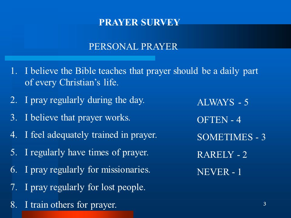 4 CORPORATE CHURCH PRAYER 1.The leadership in our church regularly teaches and emphasizes the importance of prayer.