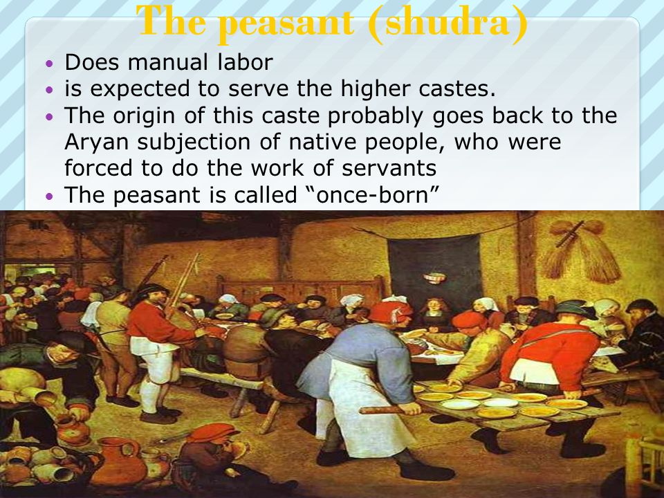 The peasant (shudra) Does manual labor is expected to serve the higher castes.