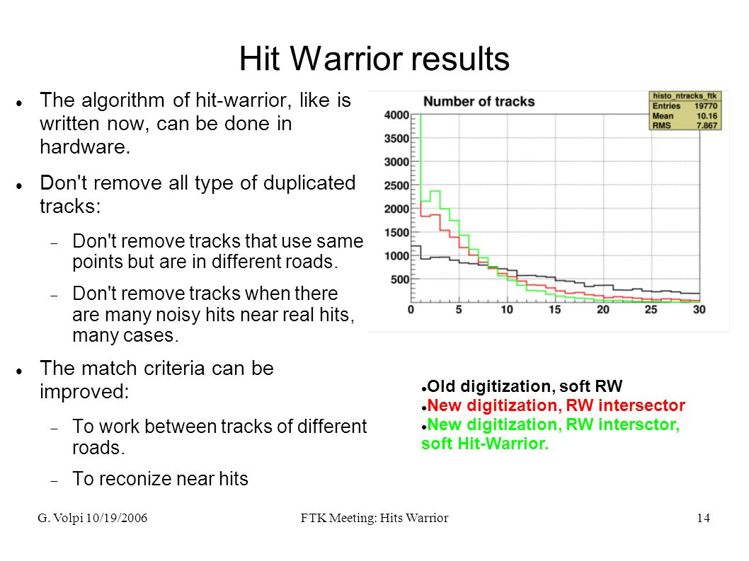 G. Volpi 10/19/2006FTK Meeting: Hits Warrior14 Hit Warrior results The algorithm of hit-warrior, like is written now, can be done in hardware. Don't r