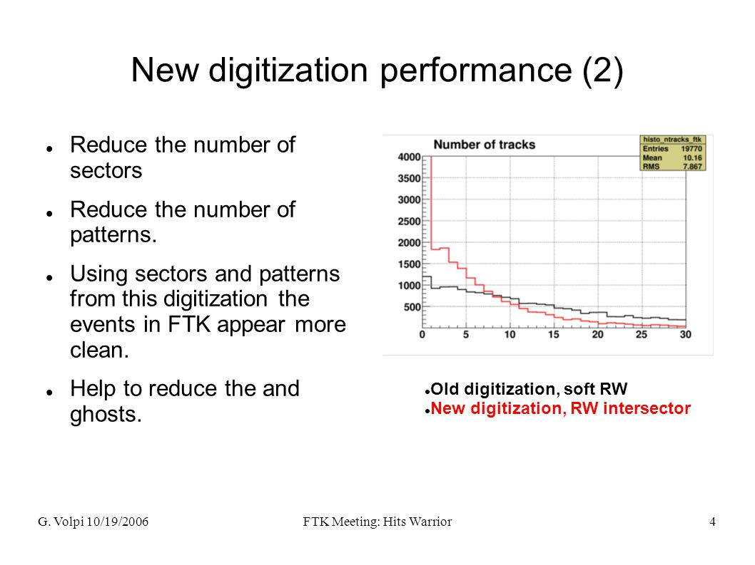 G. Volpi 10/19/2006FTK Meeting: Hits Warrior4 New digitization performance (2) Reduce the number of sectors Reduce the number of patterns. Using secto
