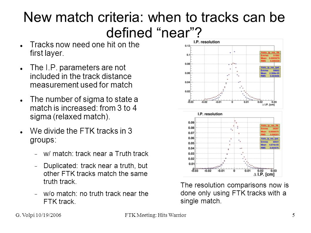 """G. Volpi 10/19/2006FTK Meeting: Hits Warrior5 New match criteria: when to tracks can be defined """"near""""? Tracks now need one hit on the first layer. Th"""