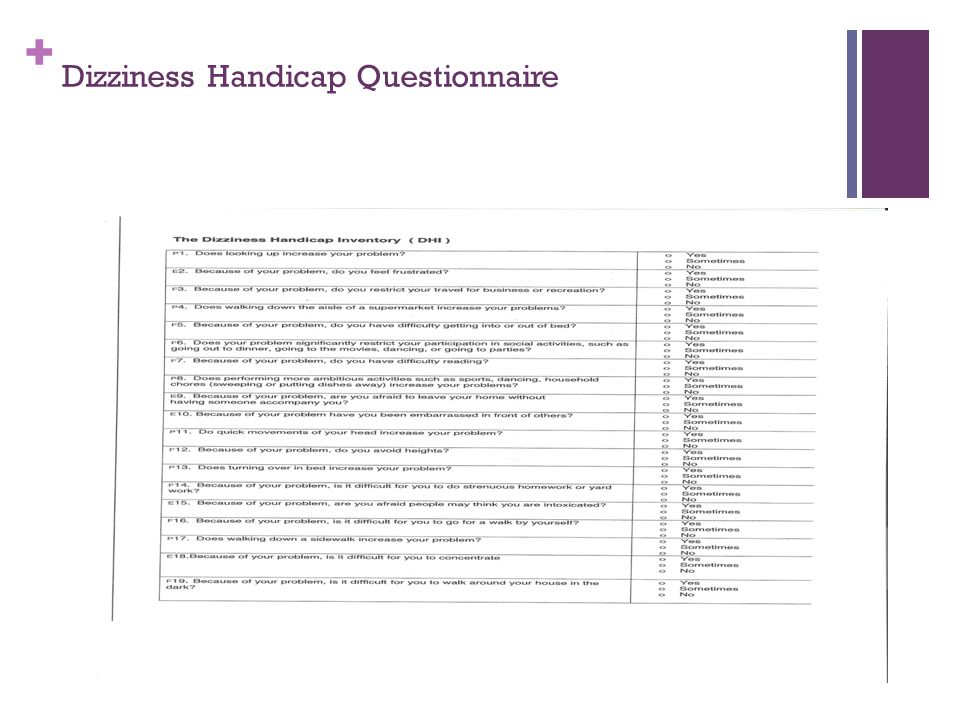 + Dizziness Handicap Questionnaire