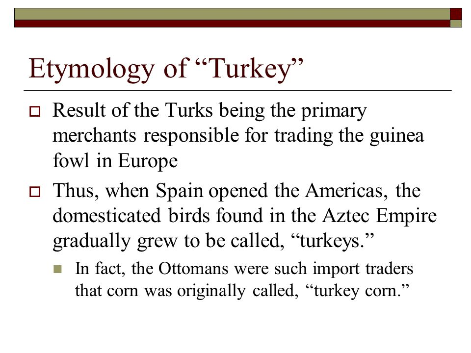 Etymology of Turkey  Result of the Turks being the primary merchants responsible for trading the guinea fowl in Europe  Thus, when Spain opened the Americas, the domesticated birds found in the Aztec Empire gradually grew to be called, turkeys. In fact, the Ottomans were such import traders that corn was originally called, turkey corn.
