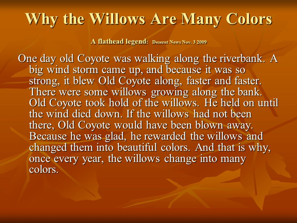 Why the Willows Are Many Colors A flathead legend : Deseret News Nov.