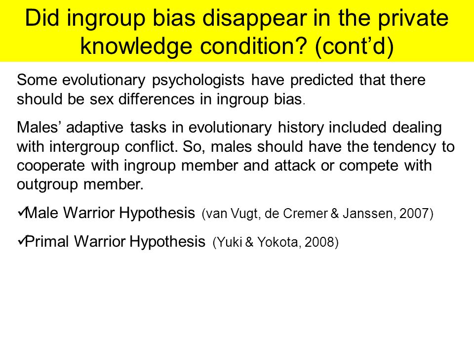 Did ingroup bias disappear in the private knowledge condition.