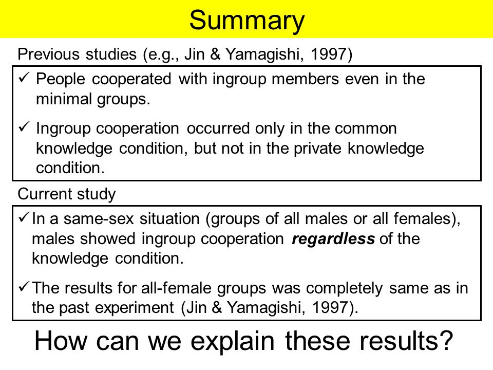 Summary People cooperated with ingroup members even in the minimal groups.