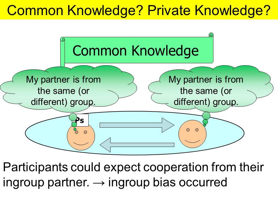 Common Knowledge.Private Knowledge.