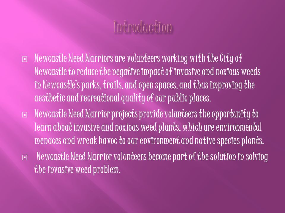  Newcastle Weed Warriors are volunteers working with the City of Newcastle to reduce the negative impact of invasive and noxious weeds in Newcastle's parks, trails, and open spaces, and thus improving the aesthetic and recreational quality of our public places.