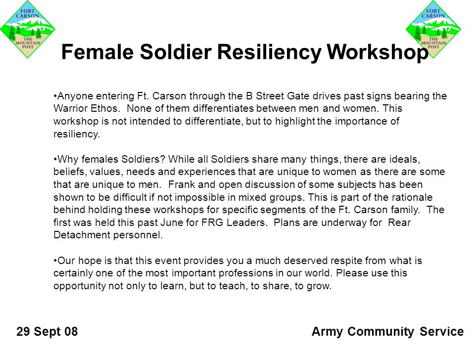 Female Soldier Resiliency Workshop Anyone entering Ft.