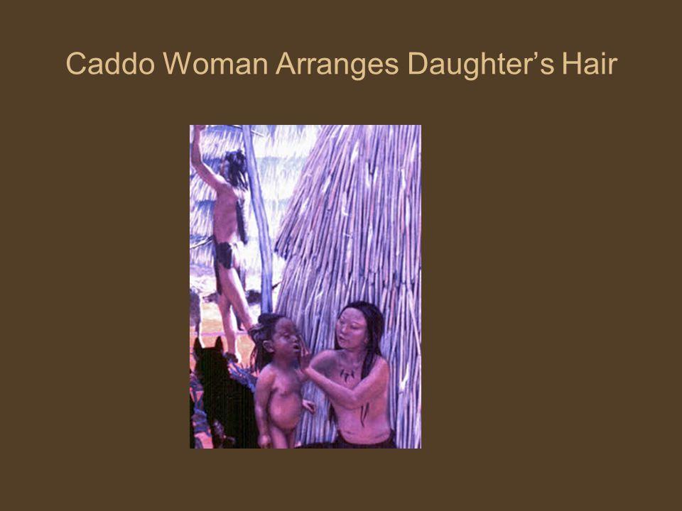 Caddo Woman Arranges Daughter's Hair