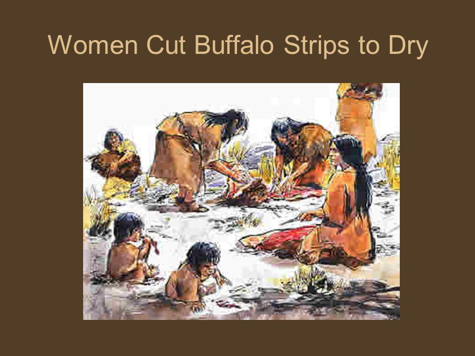 Women Cut Buffalo Strips to Dry