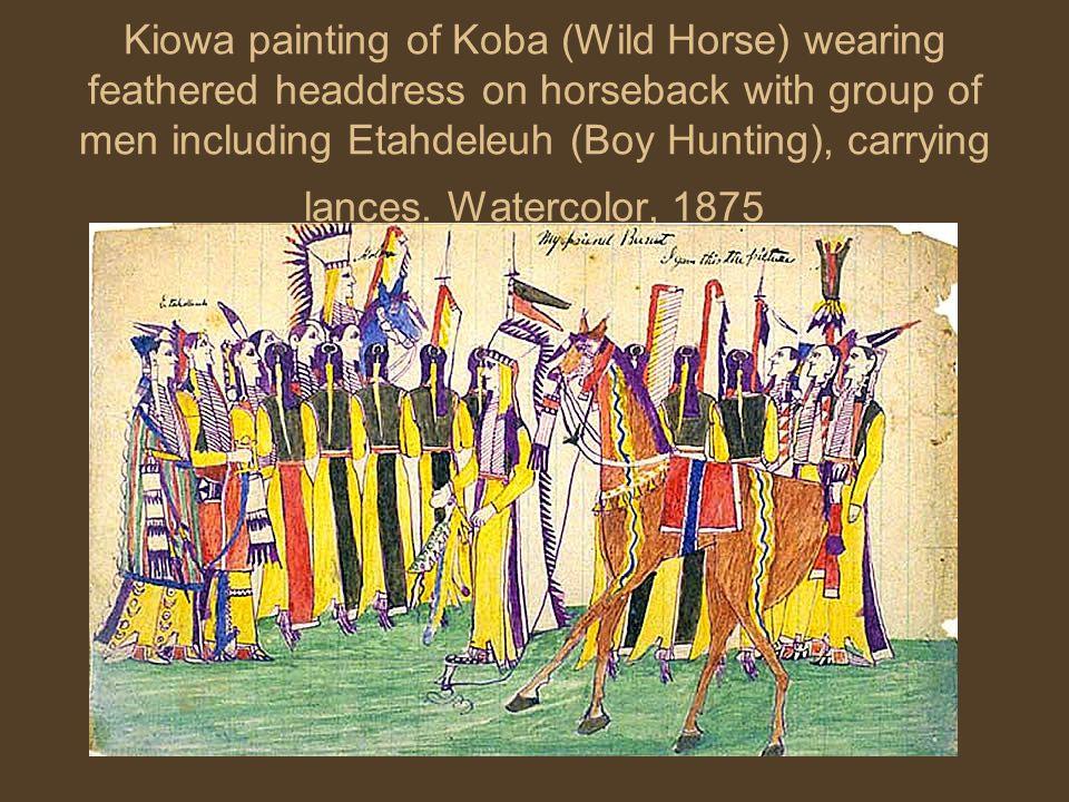 Kiowa painting of Koba (Wild Horse) wearing feathered headdress on horseback with group of men including Etahdeleuh (Boy Hunting), carrying lances.