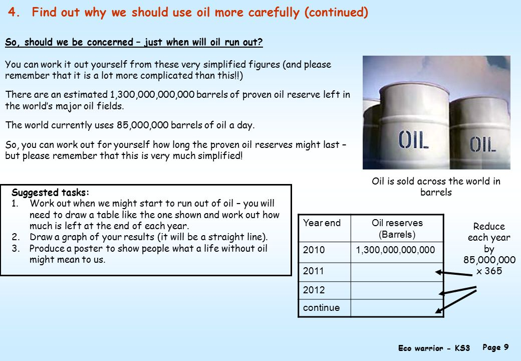 4.Find out why we should use oil more carefully (continued) So, should we be concerned – just when will oil run out.
