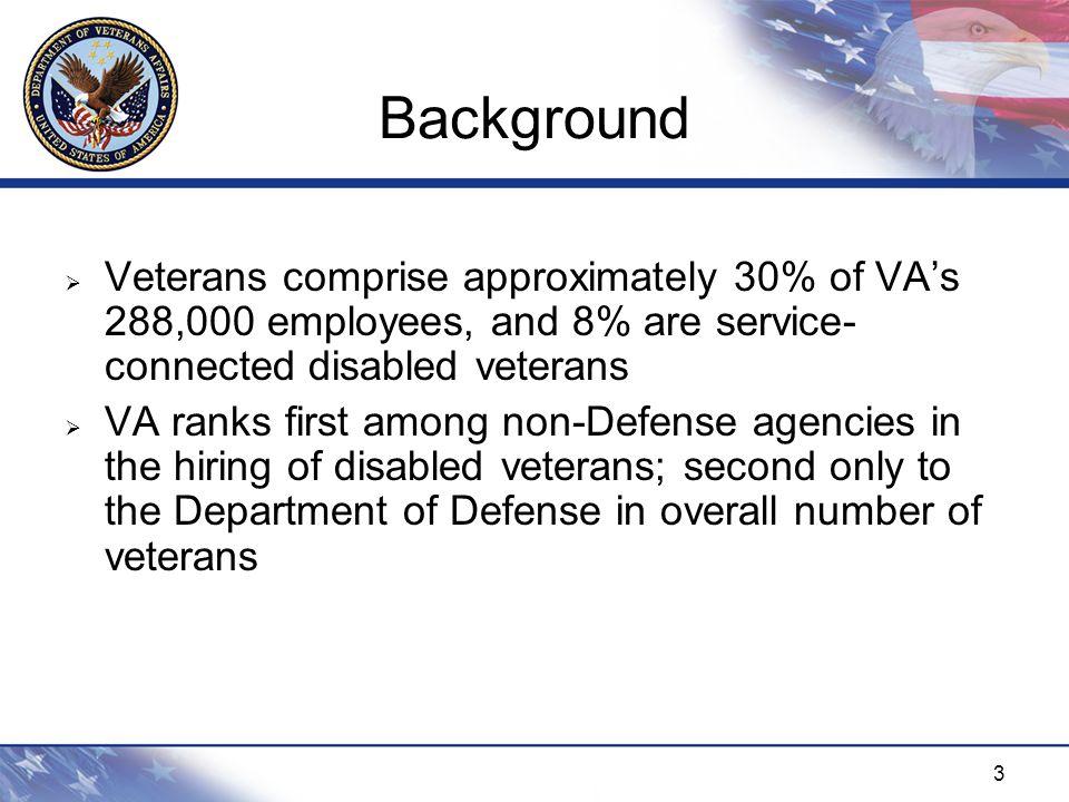 4  November 2007 – Acting VA Secretary announced the hiring of 10 full-time Regional Veterans Employment Coordinators (VECs)  January 2008 – Veterans Employment Coordination Service (VECS) office established  July 2008 – VECS fully staffed Background