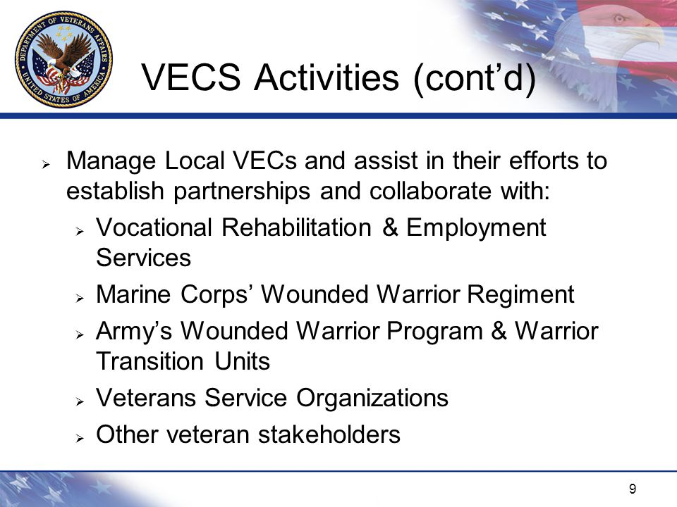 10 Comm/Marketing Plan  Developed and Distributed 50,000 Brochures and 500 Posters  Published Secretary's Memo highlighting VA's Commitment (Re-issue pending)  Published Call-to Action Memo (Re-issue pending)  Sent Direct Contact Memo to over 2300 Severely Injured Veterans  688 Responses  Launched VECS Website at, www.va.gov/vecs  Showcased during Diversity News & Diversity Newsletter