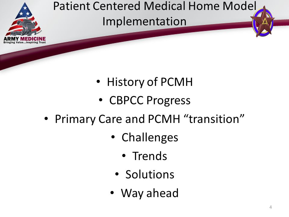 Patient Centered Medical Home Model Implementation History of PCMH CBPCC Progress Primary Care and PCMH transition Challenges Trends Solutions Way ahead 4