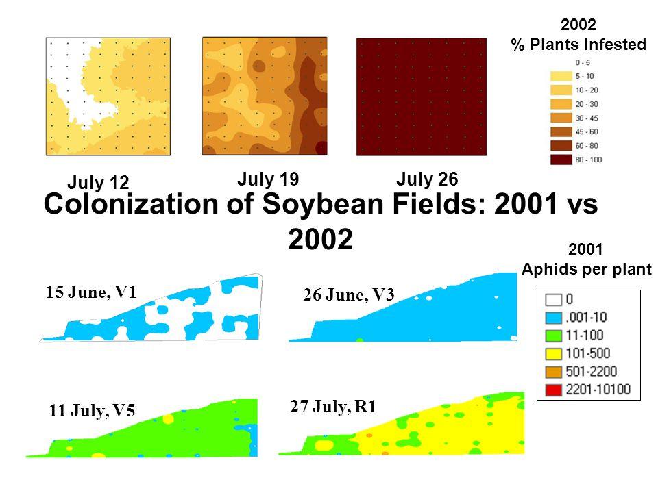 Colonization of Soybean Fields: 2001 vs 2002 July 26July 19 July 12 2001 Aphids per plant 15 June, V1 26 June, V3 11 July, V5 27 July, R1 2002 % Plants Infested