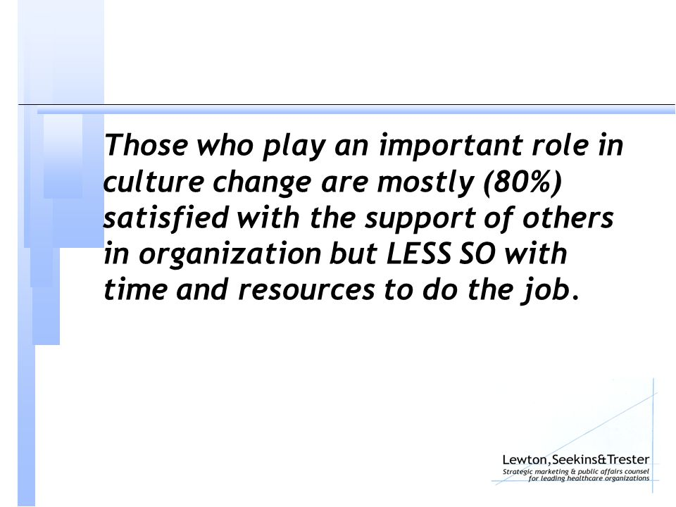 Those who play an important role in culture change are mostly (80%) satisfied with the support of others in organization but LESS SO with time and resources to do the job.
