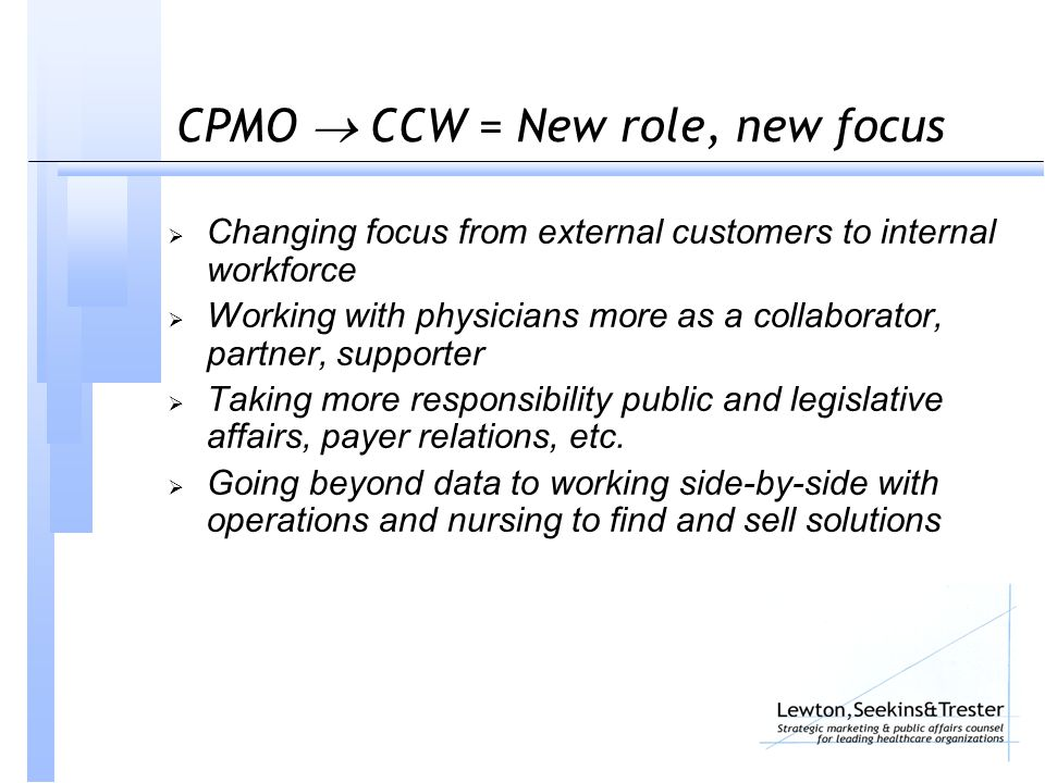 CPMO  CCW = New role, new focus  Changing focus from external customers to internal workforce  Working with physicians more as a collaborator, part
