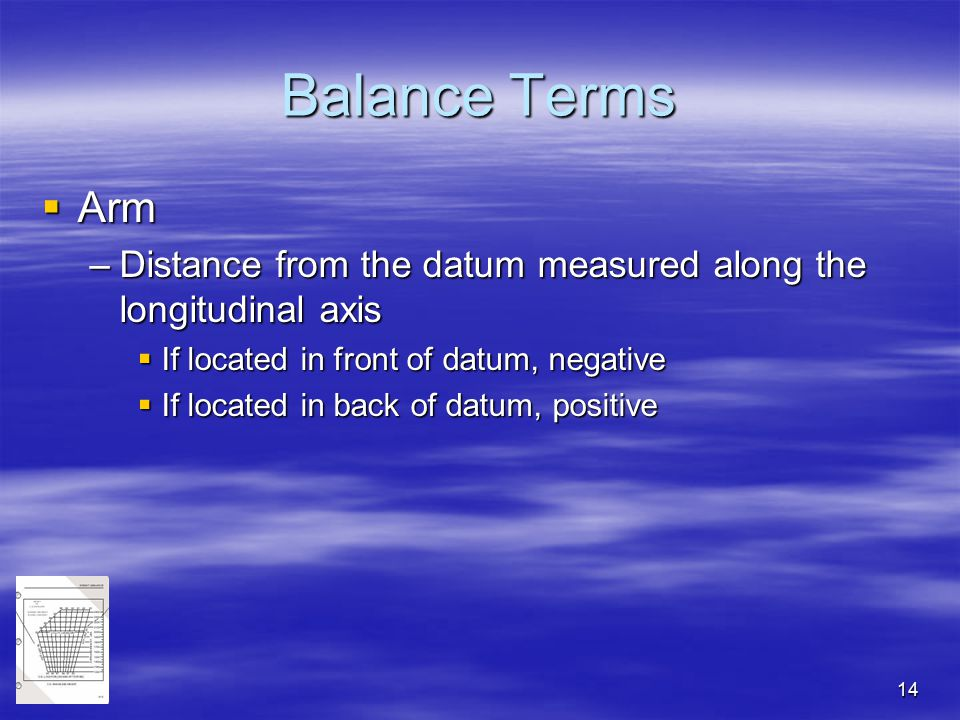 14 Balance Terms  Arm –Distance from the datum measured along the longitudinal axis  If located in front of datum, negative  If located in back of