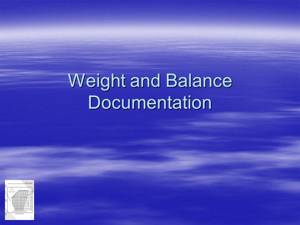 Weight and Balance Documentation