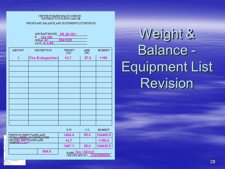 28 Weight & Balance - Equipment List Revision