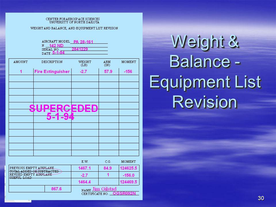 30 Weight & Balance - Equipment List Revision