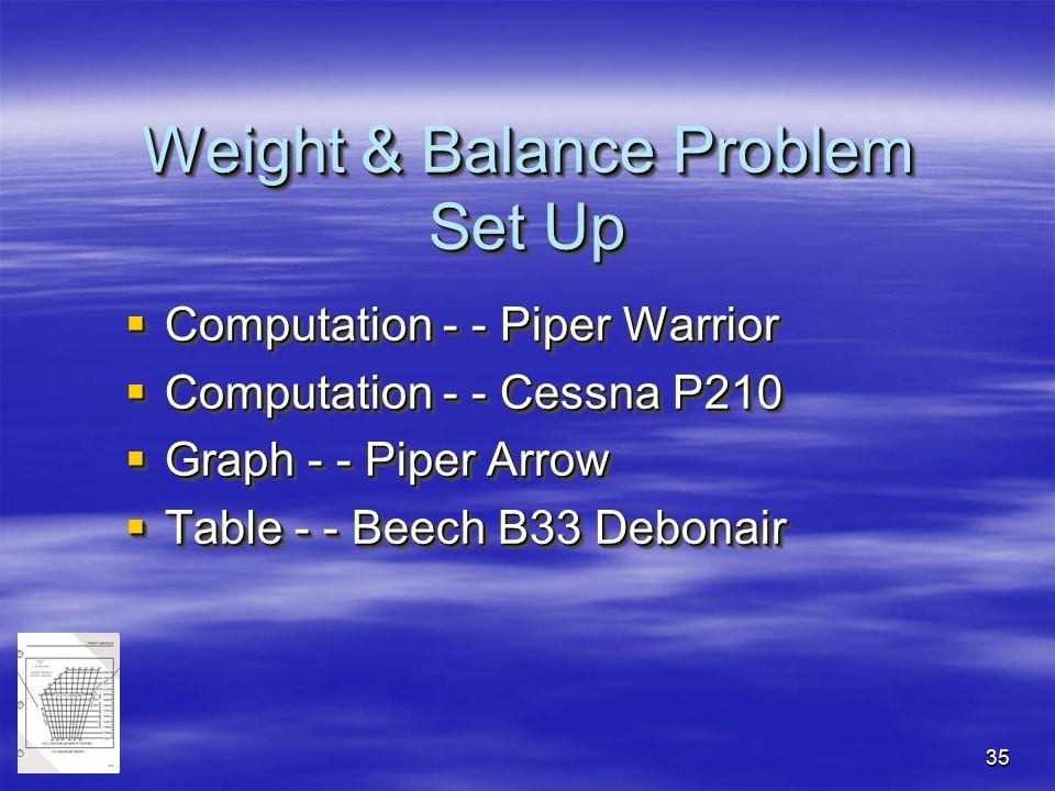 35 Weight & Balance Problem Set Up  Computation - - Piper Warrior  Computation - - Cessna P210  Graph - - Piper Arrow  Table - - Beech B33 Debonai