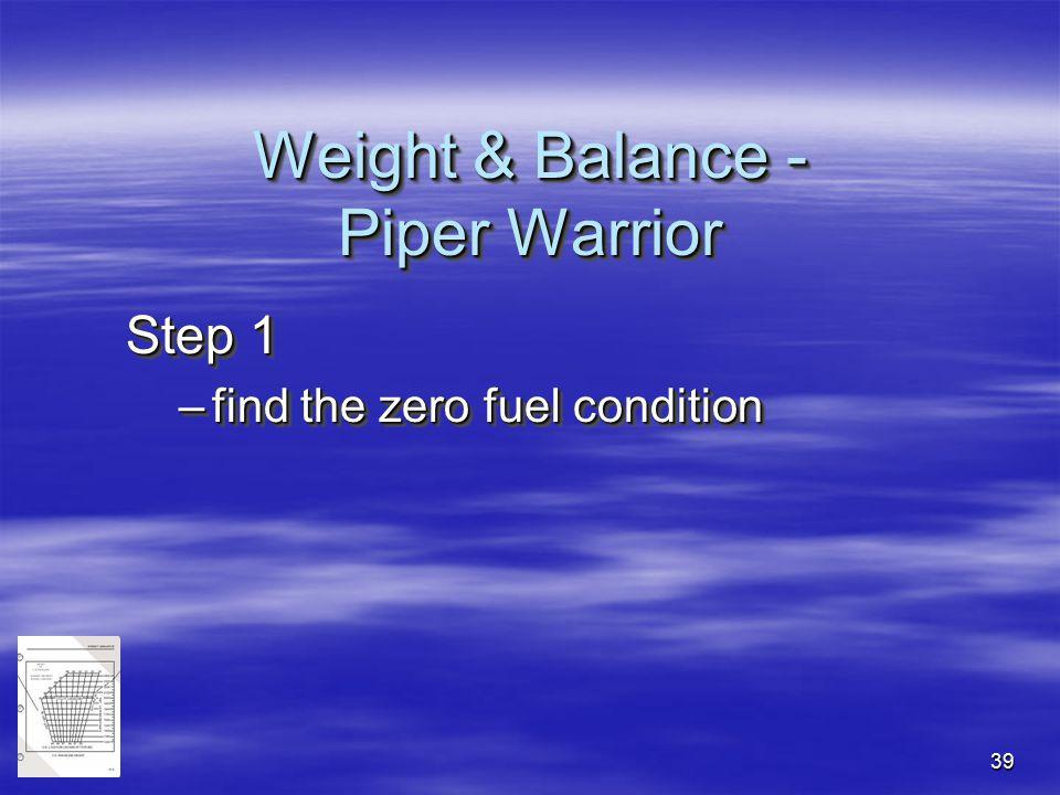 39 Step 1 –find the zero fuel condition Step 1 –find the zero fuel condition Weight & Balance - Piper Warrior
