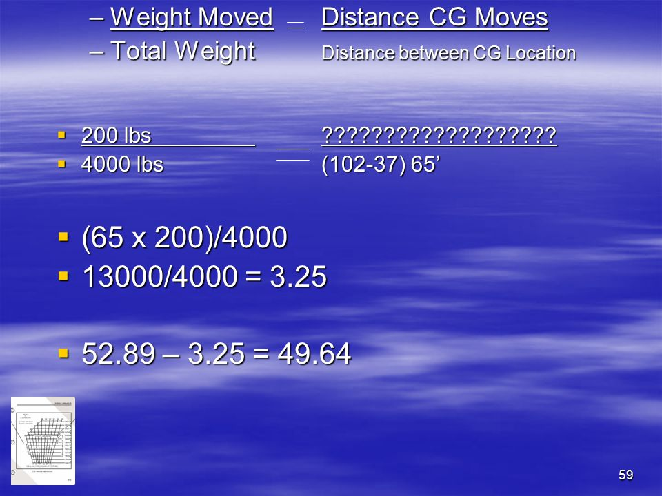 59 –Weight MovedDistance CG Moves –Total Weight Distance between CG Location  200 lbs???????????????????  4000 lbs(102-37) 65'  (65 x 200)/4000  1