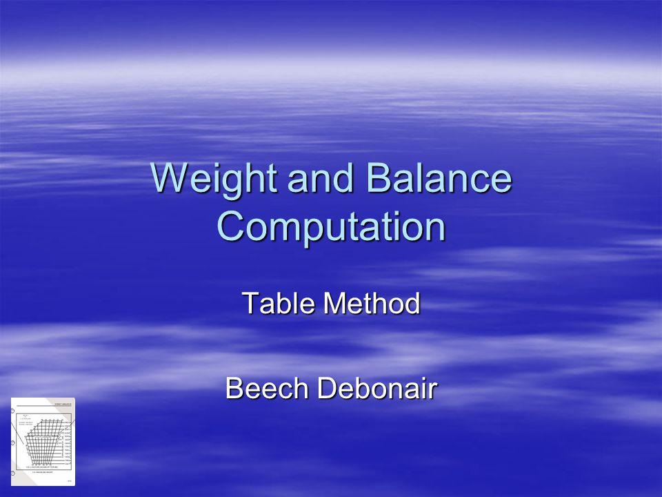 Weight and Balance Computation Table Method Beech Debonair