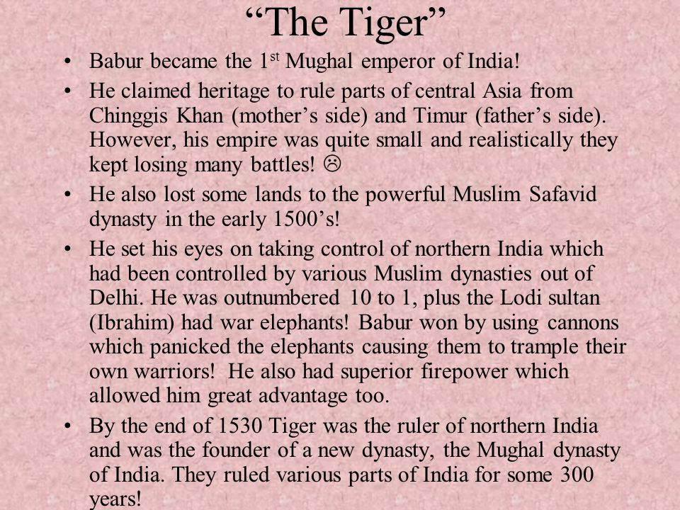 """""""The Tiger"""" Babur became the 1 st Mughal emperor of India! He claimed heritage to rule parts of central Asia from Chinggis Khan (mother's side) and Ti"""