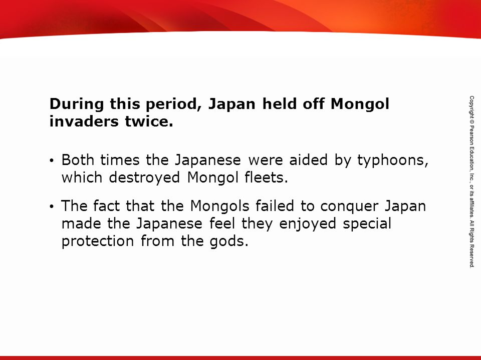 TEKS 8C: Calculate percent composition and empirical and molecular formulas. During this period, Japan held off Mongol invaders twice. Both times the