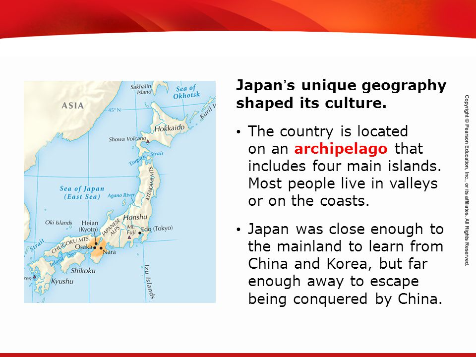 TEKS 8C: Calculate percent composition and empirical and molecular formulas. Japan's unique geography shaped its culture. The country is located on an