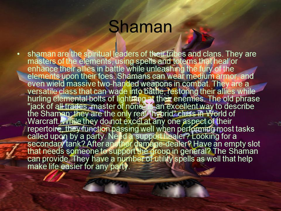 Shaman shaman are the spiritual leaders of their tribes and clans.