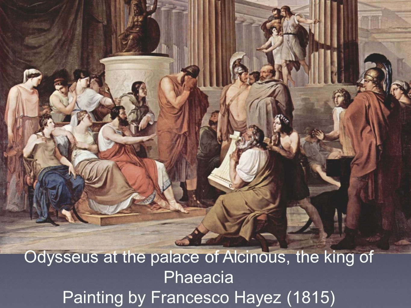 Odysseus at the palace of Alcinous, the king of Phaeacia Painting by Francesco Hayez (1815)