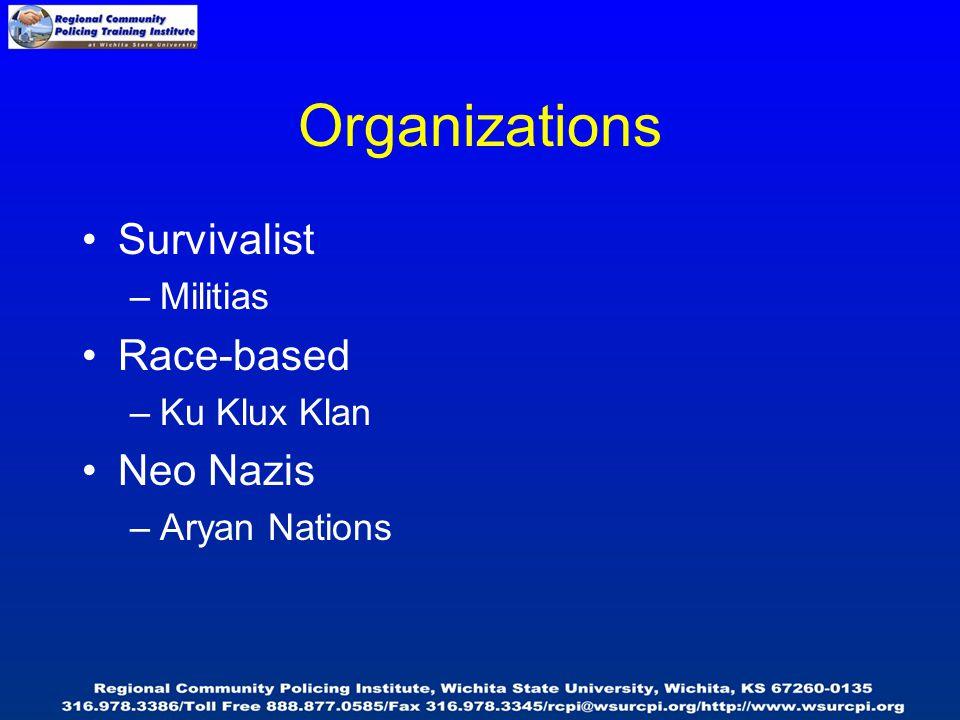 Organizations Survivalist –Militias Race-based –Ku Klux Klan Neo Nazis –Aryan Nations