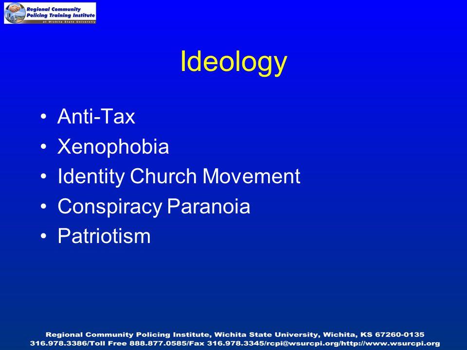Ideology Anti-Tax Xenophobia Identity Church Movement Conspiracy Paranoia Patriotism