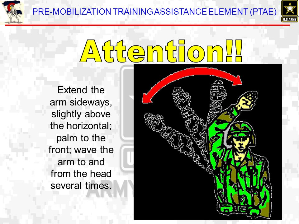 Extend the arm sideways, slightly above the horizontal; palm to the front; wave the arm to and from the head several times.