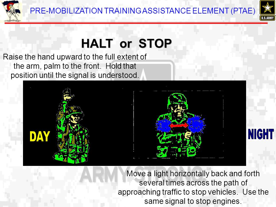 PRE-MOBILIZATION TRAINING ASSISTANCE ELEMENT (PTAE) Raise the hand upward to the full extent of the arm, palm to the front. Hold that position until t