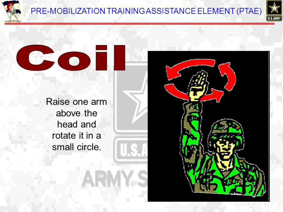 PRE-MOBILIZATION TRAINING ASSISTANCE ELEMENT (PTAE) Raise one arm above the head and rotate it in a small circle.
