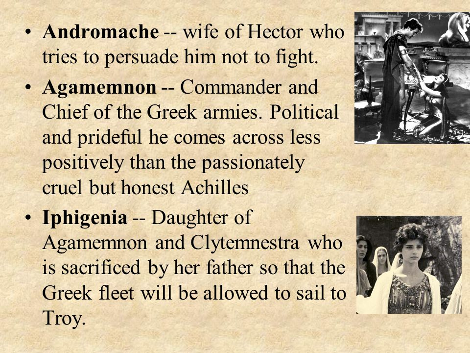 Andromache -- wife of Hector who tries to persuade him not to fight.