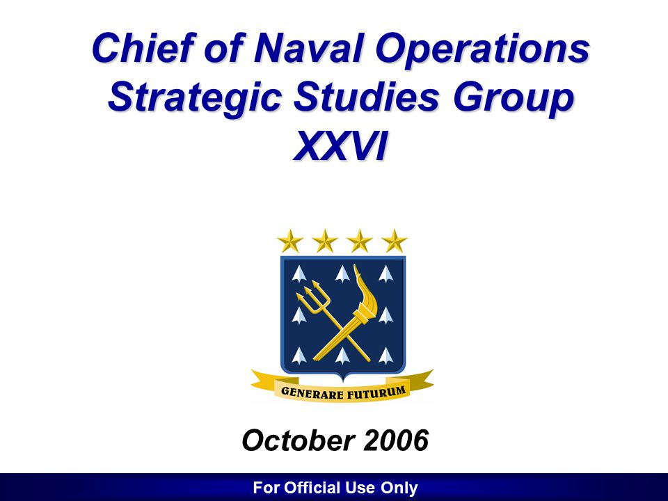 2 SSG History 1981 - Formed by Admiral Thomas Hayward –To develop future naval leaders versed in strategic concepts and their implications for naval warfighting 1995 - Redefined by Admiral Mike Boorda –To develop revolutionary warfighting concepts –Tasked very broadly by the CNO –Tasked to Develop a Road Map –Added semi-permanent Systems Analysts, Scientists/Technologists, Science Advisor