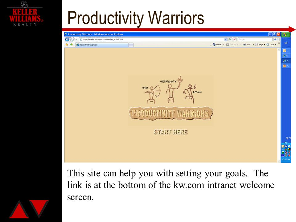 Productivity Warriors This site can help you with setting your goals. The link is at the bottom of the kw.com intranet welcome screen.
