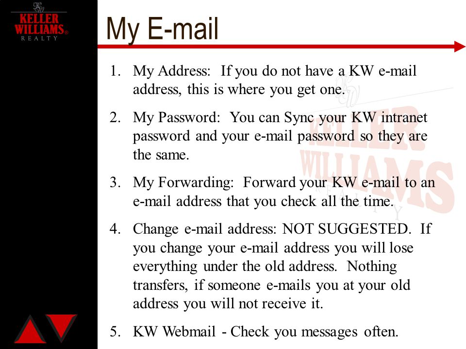 My E-mail 1.My Address: If you do not have a KW e-mail address, this is where you get one. 2.My Password: You can Sync your KW intranet password and y