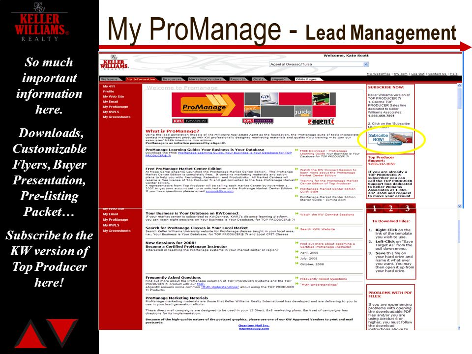 My ProManage - Lead Management So much important information here. Downloads, Customizable Flyers, Buyer Presentation, Pre-listing Packet… Subscribe t